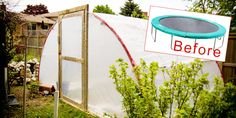 Need to find an old trampoline and try this out! Make a greenhouse out of an old trampoline. Trampolines, Diy Greenhouse Plans, Build A Greenhouse, Greenhouse Wedding, Cheap Greenhouse, Portable Greenhouse, Indoor Greenhouse, Miniature Greenhouse, Greenhouse Growing