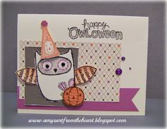 Amy's Art from the Heart, CTMH, what a hoot, owl, halloween cards, scaredy cat,