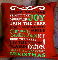 Cool Christmas Pillow - I did not think about iron on vinyl until I saw this project. Plan to try it.