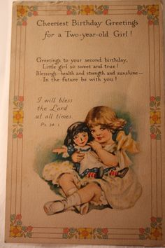 Birthday Greetings to a Two Year Girl by VintagebyViola on Etsy, $7.50