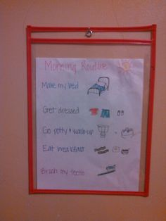 Morning Routine chart. No more nagging!! Perfect for our daughter with ADHD who needs constant reminding to stay on task. She can cross off each step with a dry erase marker as she completes it. Great with our other kids too!