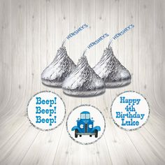 Little Blue Truck Birthday Party Hershey Kiss Labels Candy Blue Birthday, Sons Birthday, Birthday Parties, Little Blue Trucks, Cute Themes, Bar Wrappers, Hershey Kisses, Printing Labels, For Your Party