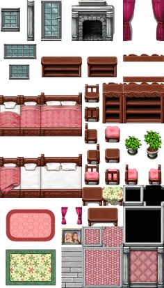 Princess room parallax tile for RPG Maker VX. Rpg Maker Vx, Maker Game, Pixel Art Background, Game Background, 2d Rpg, Creating Games, Isometric Drawing, Video Game Sprites, Digital Texture