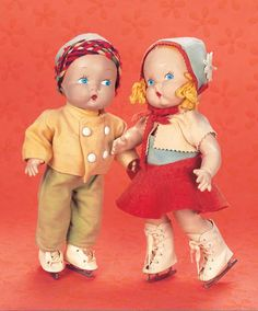 "Playful Art - The 20th Century Doll: 92 Rare,Pair,American Composition ""Little Cherub"" Dolls by Harriet Flanders for Georgene"