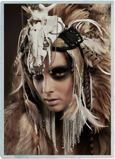 Her world was woven with endless wildness. a fierce life devouring every bite of bliss. Vikings, Voodoo Costume, Shaman Woman, Aradia, Warrior Girl, Retro Futuristic, Cosplay, Tribal Fusion, War Paint