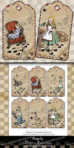 Instant ALICE DIGITAL tags wonderland gift tags printable Card Tags, I Card, Scrapbook Paper, Scrapbooking, Alice Tea Party, Tea Party Bridal Shower, Gift Tags Printable, Collage Sheet, Digital Collage