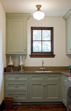 Butlers Pantry, same size, setup as mine, schoolhouse pendant in here and above kitchen sink?