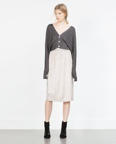 SILVER PLEATED SKIRT from Zara
