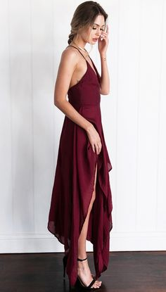 Women Fashion Burgundy Spaghetti-neck Cropped Split-side Maxi Dress L Plus Dresses, Sexy Dresses, Dresses For Sale, Fashion Dresses, Dressy Dresses, Bohemia Dress, Maxi Shirt Dress, Women's Evening Dresses, Spaghetti Strap Dresses