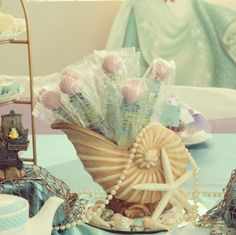Candy skewers centerpiece and party favor & Little Mermaid table set up | Under the Sea/The Little Mermaid Party ...
