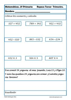 Ejercicios de Matemáticas Segundo PrimariaCalifica este post Fichas con ejercicios de matemáticas segundo primaria Vamos a repasar matemáticas en segundode Content, Education, Peru, Ideas, Math Practices, Funny Math, Training, Educational Illustrations, Learning