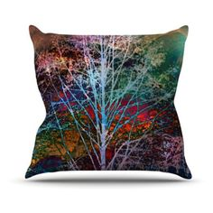 Kess InHouse Sylvia Cook Trees In The Night Indoor / Outdoor Throw Pillow - SC1002AOP0