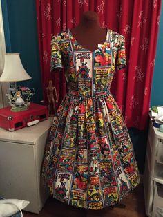 Captain America cotton dress - by Ashley Whitten Kopera  www.etsy.com/shop/foureyedgirl