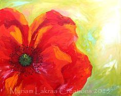 """""""Joli coquelicot Mesdames !"""" - Peinture acrylique aux doigts, coeur de la fleur au feutre posca - Format 40x50 cm, modèle pour un cours de peinture - Myriam Lakraa Créations 2015"""