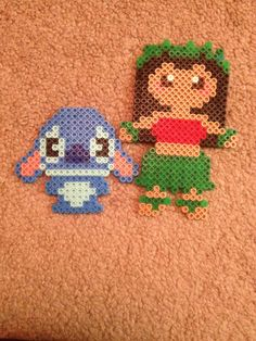 Lilo & Stitch Perler beads by JenDisney Perler Bead Designs, Easy Perler Bead Patterns, Melty Bead Patterns, Perler Bead Templates, Hama Beads Design, Diy Perler Beads, Perler Bead Art, Beading Patterns, Disney Hama Beads Pattern