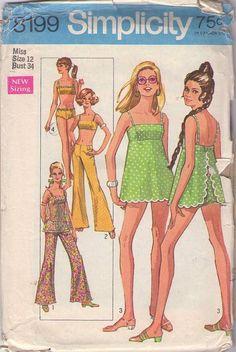 Simplicity 8199 Vintage 60s Sewing Pattern, Swim Suit & Hip Huggers #MOMSPatterns