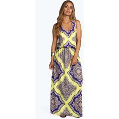 Boohoo Plus Charlotte Neon Paisley Maxi Dress ($35) ❤ liked on Polyvore