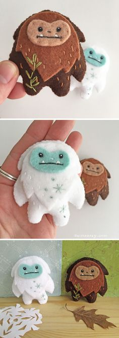 Stitch up your own super cute yeti and Sasquatch friends with this easy sewing pattern from little dear! They make perfect ornaments baby mobiles and finger puppets too. Easy Sewing Patterns, Felt Patterns, Stuffed Toys Patterns, Craft Patterns, Felt Diy, Felt Crafts, Sewing Toys, Sewing Crafts, Diy For Kids