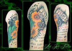 #sunflowers #sunflowerstattoo #tattoo #ink #inked #girasoli #girasolitattoo #tatuaggio #colors #pinerolo #pinerolotattoo #italy #artka #artkatattoo