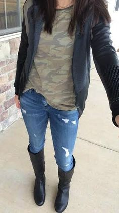 Camo Shirt, Moto Jacket, Distressed Jeans & black boots outfit.