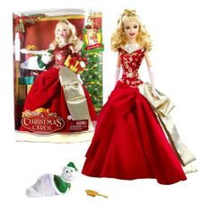 """Mattel Year 2008 Barbie Holiday Movie Series """"A Christmas Carol"""" 12 Inch Doll - Eden Starling in Elegant Red Gown with Golden Accent and Her Pet Cat Chuzzlewit by Mattel. $54.99. For age 3 and up. Produced in year 2008. Includes: Barbie as Eden Starling doll in Elegant Red Gown with Golden Accent and Her Pet Cat. Doll measured approximately 12 inch tall. Eden Starling, a glamorous singing diva in Victorian London, selfishly orders all of her theater performers to stay ..."""