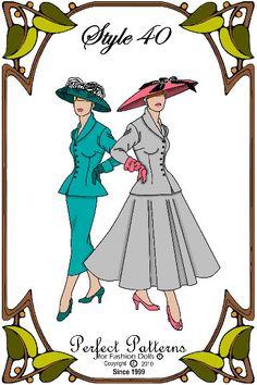 PDF - Gene Marshall Doll Clothes Pattern - Jacket, Skirt, Hat - No. PDF-40 by PerfectPatterns on Etsy