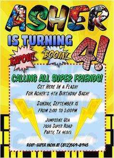 Superhero Birthday Party Invitation - Digital File - DIY