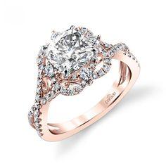 Parade Design Hemera Bridal Twisted Design Halo Pave Ring