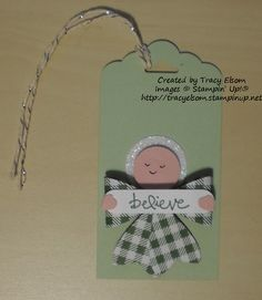 Gift tag made by Tracy Elsom using the Bow Builder Punch from the Stampin' Up! 2015 Occasions Catalogue. http://tracyelsom.stampinup.net