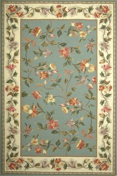 Slate Blue  Colonial Floral Country Rug | Free Shipping! |  KAS No. 1728 ~ this would be pretty with my wallpaper!