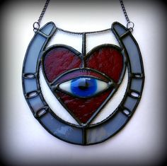 EYE LOVE YOU Heart Horseshoe Eye Stained Glass Suncatcher by KELLKRAFT on Etsy