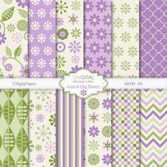Green and Lilac Flowers digital paper pack- 12 digital papers with green and lilac retro flowers and leaves-Spring floral backgrounds