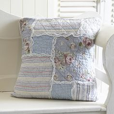 Blue Panel 50cm Cushion Cover. 100% cotton quilted cushion cover. Ties at the back. Reverse is same colour multi stripe. £14.95