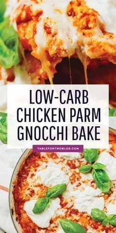 This Chicken Parmesan Gnocchi Bake Is A Take On The Classic Chicken Parmesan But With Cauliflower Gnoc Low Carb Chicken Parmesan Baked Gnocchi Low Carb Chicken