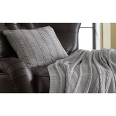Cable Knit Decorative Pillow in Gray