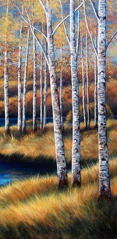 Birch Trees original painting landscape forest by GlendaOkiev Landscape Artwork, Cool Landscapes, Landscape Design, Hydrangea Landscaping, Landscaping Trees, Farmhouse Landscaping, Cool Paintings, Original Paintings, Tree Paintings