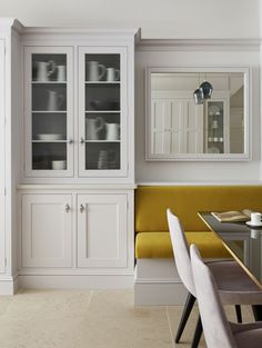 Our luxury kitchens can be seen in our inspirational kitchen showroom in north London. Visit our Muswell Hill showroom and speak with our design experts. Bespoke Kitchens, Luxury Kitchens, Home Kitchens, Kitchen Banquette, Dining Nook, Kitchen Showroom, Kitchen Interior, Martin Moore Kitchens, Glass Cabinet Doors