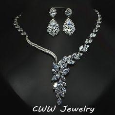Weiß Gold Zirkonia Diamant-hochzeit Schmuck Zubehör Braut Strass Halskette Und Ohrring-sets Für Bräute T142
