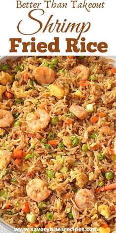 Better than takeout this recipe of restaurant style homemade chinese shrimp fried rice with egg is very easy,authentic and totally fix your lunch / dinner under 30 mins. rice recipe chinese food shrimp Better Than Takeout Shrimp Fried Rice! Shrimp And Rice Recipes, Shrimp Recipes For Dinner, Easy Rice Recipes, Shrimp Dishes, Seafood Dinner, Fish Recipes, Seafood Recipes, Asian Recipes, Cooking Recipes