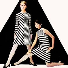 Colleen Corby and Shelley Hack donning mod dresses in Seventeen, 1967.