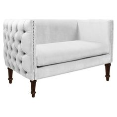 Check out this item at One Kings Lane! Elizabeth Tufted Settee, Velvet White
