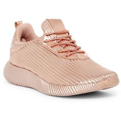 Cape Robbin Nena Textured Sneaker ($30) ❤ liked on Polyvore featuring shoes, sneakers, rose gold, laced sneakers, platform lace up shoes, cushioned shoes, platform trainers and rose gold sneakers