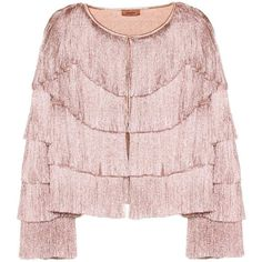 Missoni Fringed Jacket ($1,700) ❤ liked on Polyvore featuring outerwear, jackets, blazers, pink, fringe jacket, missoni blazer, pink blazer jacket, missoni jacket and pink fringe jacket