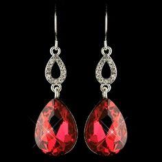 Silver Red & Clear CZ Crystal Drop Earrings