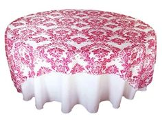 We think #pink is a popping spring #wedding color! And at $9.99 per overlay - every table is a bloom with pink damask! http://www.tableclothsfactory.com/90-Overlay-Flocking-White-fushia-p/l04a_lay90_flk_fush.htm#