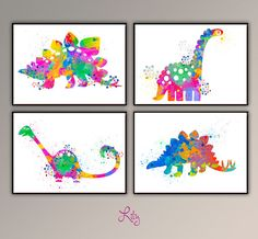 Set of 4 paintings of Dinasour Colorful 6 , Nursery Poster, Watercolor Printing for, Chidrens Room Wall Decor. Wild Life Animal Poster A733  Here