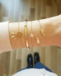 Combo Total Gold avec les bracelets en plaqué or Attrape Rêve, Will, Bryan et Plume
