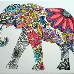 Elefante pintado sobre placa de ceramica de 30x20