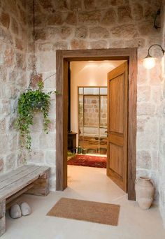 Home Design Decor, Dream Home Design, Door Design, Home Interior Design, House Design, Home Decor, Apartment Balcony Decorating, Apartment Renovation, Stone Cottages