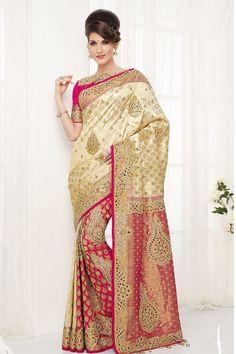 Off white pure silk zari weaved dashing saree with gold border -SR10385 #offwhite #silksaree #zari #weaved #dashing #gold #border #pallu #designer #samyakk #bridal #wedding #casual #partywears #newarrival #special #limited #edition